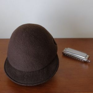 Accessories - Brown wool newsboy cap